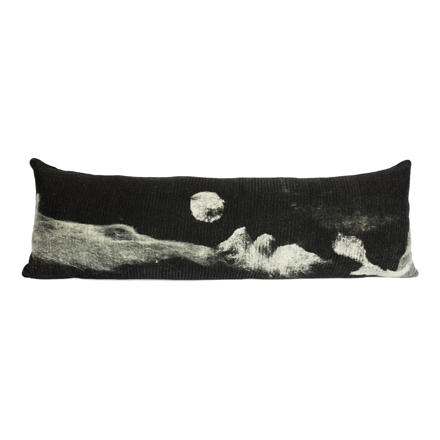 "Felted, Modern Rustic Wool and Silk, Black and White ""Luna"" Body Pillow in Stock"