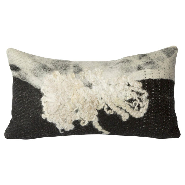 Felted Wool B&W Wensleydale Pillow, Small, Heritage Sheep Collection For Sale