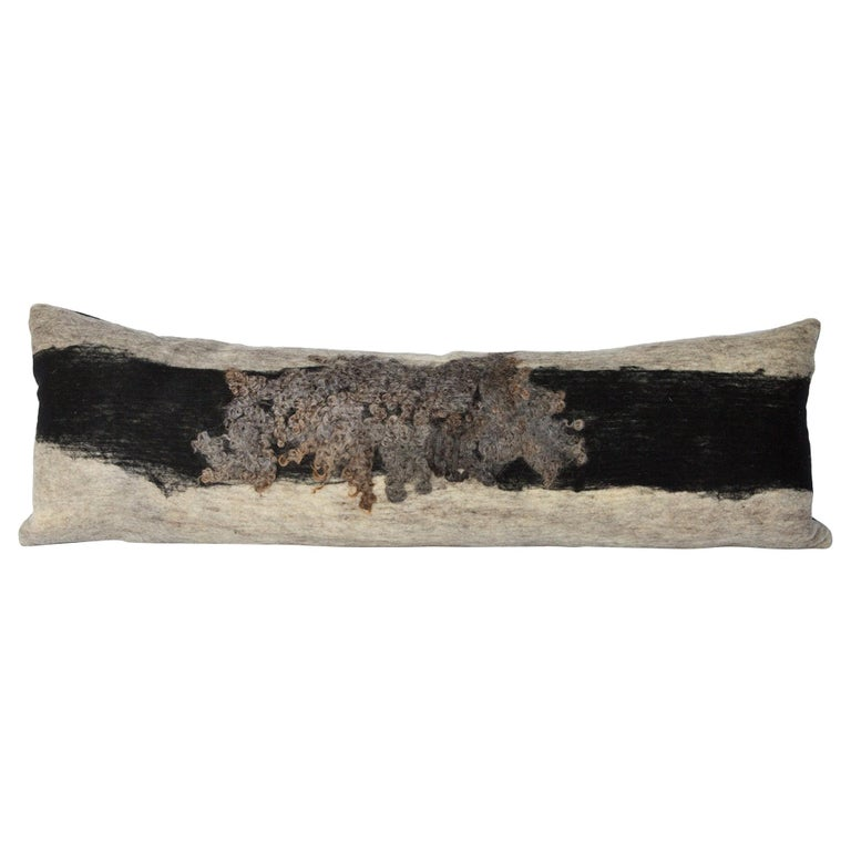 Felted Wool Wensleydale Body Pillow Merino Backed, Heritage Sheep Collection For Sale