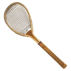 Feltham Lawn Tennis Racket, Lop Sided, Tear Drop Shape, Antique and Very Rare