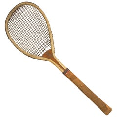 Feltham Lawn Tennis Racket, Lop Sided, Tear Drop Shape