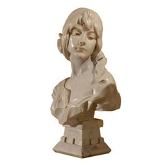 Hand Carved Marble Bust of Female
