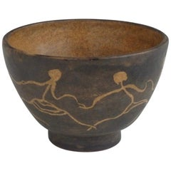 Female Figure Sgraffito Design Pottery Bowl by Rozsika Blackstone