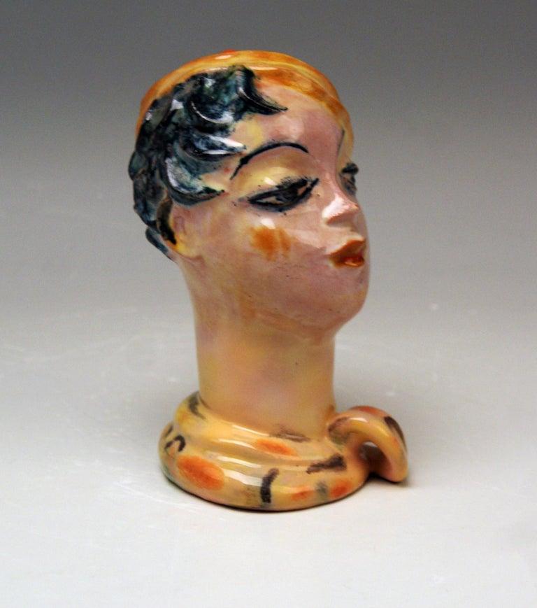 Austrian Female Head Expressionist Style Wiener Werkstaette Vally Wieselthier Vienna 1928 For Sale