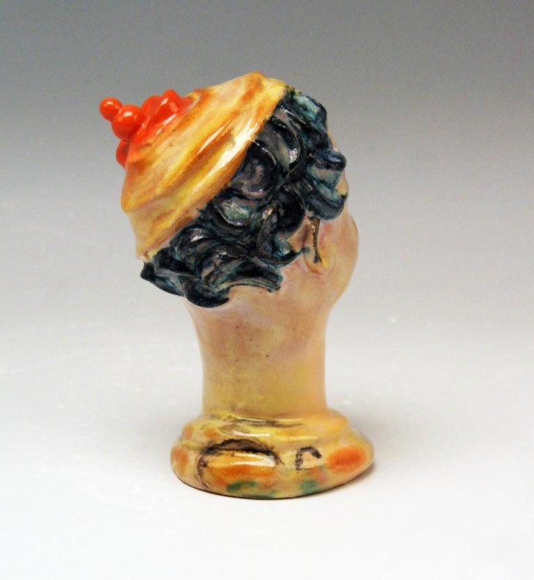Glazed Female Head Expressionist Style Wiener Werkstaette Vally Wieselthier Vienna 1928 For Sale