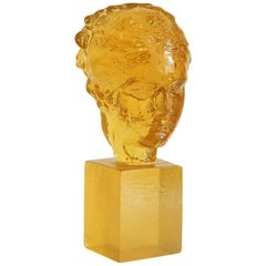 """""""Female Head in Gold,"""" Rare Sculpture in a Golden Amber Hue by Dorothy Thorpe"""