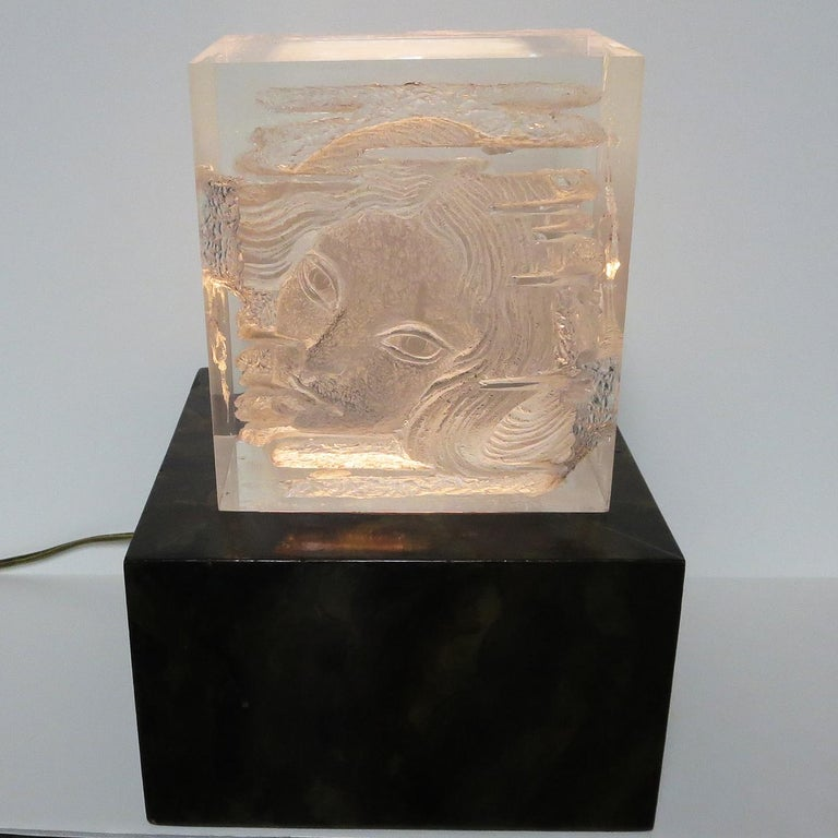 Mid-Century Modern Female Head Lucite Carving by Arthur Fleischmann For Sale