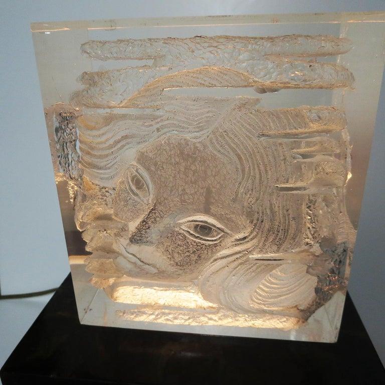 English Female Head Lucite Carving by Arthur Fleischmann For Sale