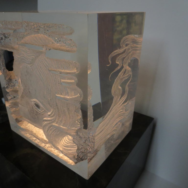 Female Head Lucite Carving by Arthur Fleischmann In Good Condition For Sale In North Hollywood, CA