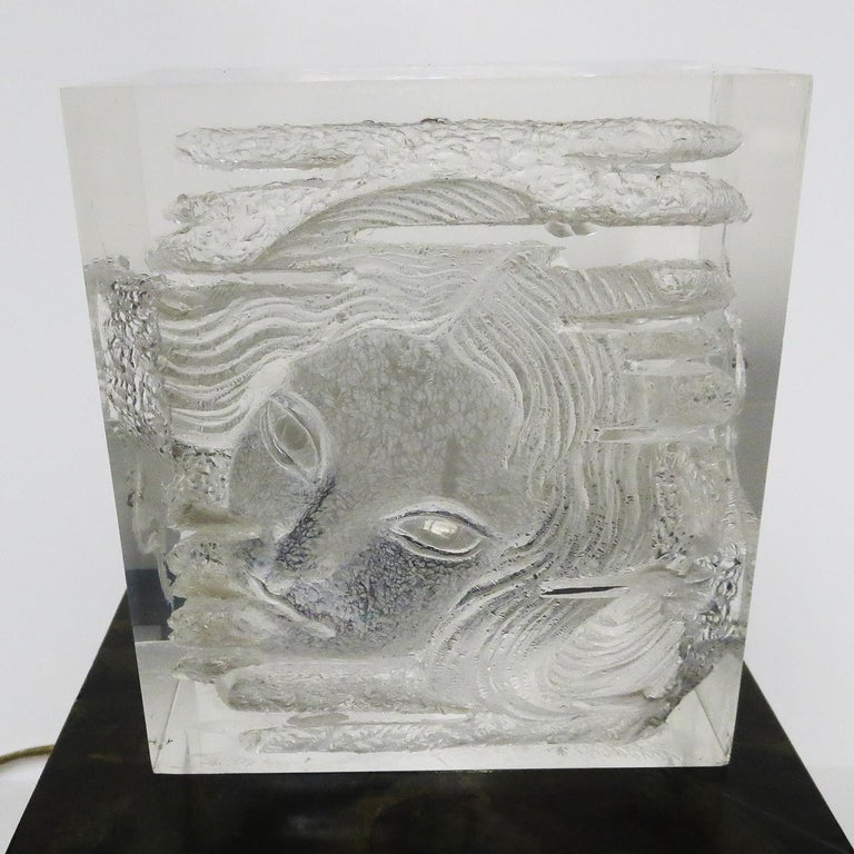 Late 20th Century Female Head Lucite Carving by Arthur Fleischmann For Sale