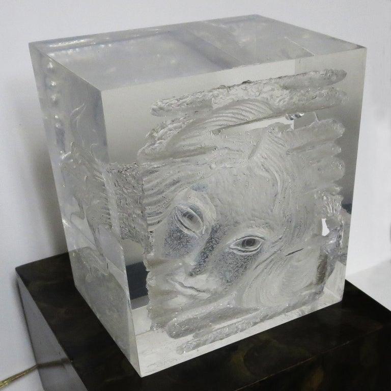 Acrylic Female Head Lucite Carving by Arthur Fleischmann For Sale