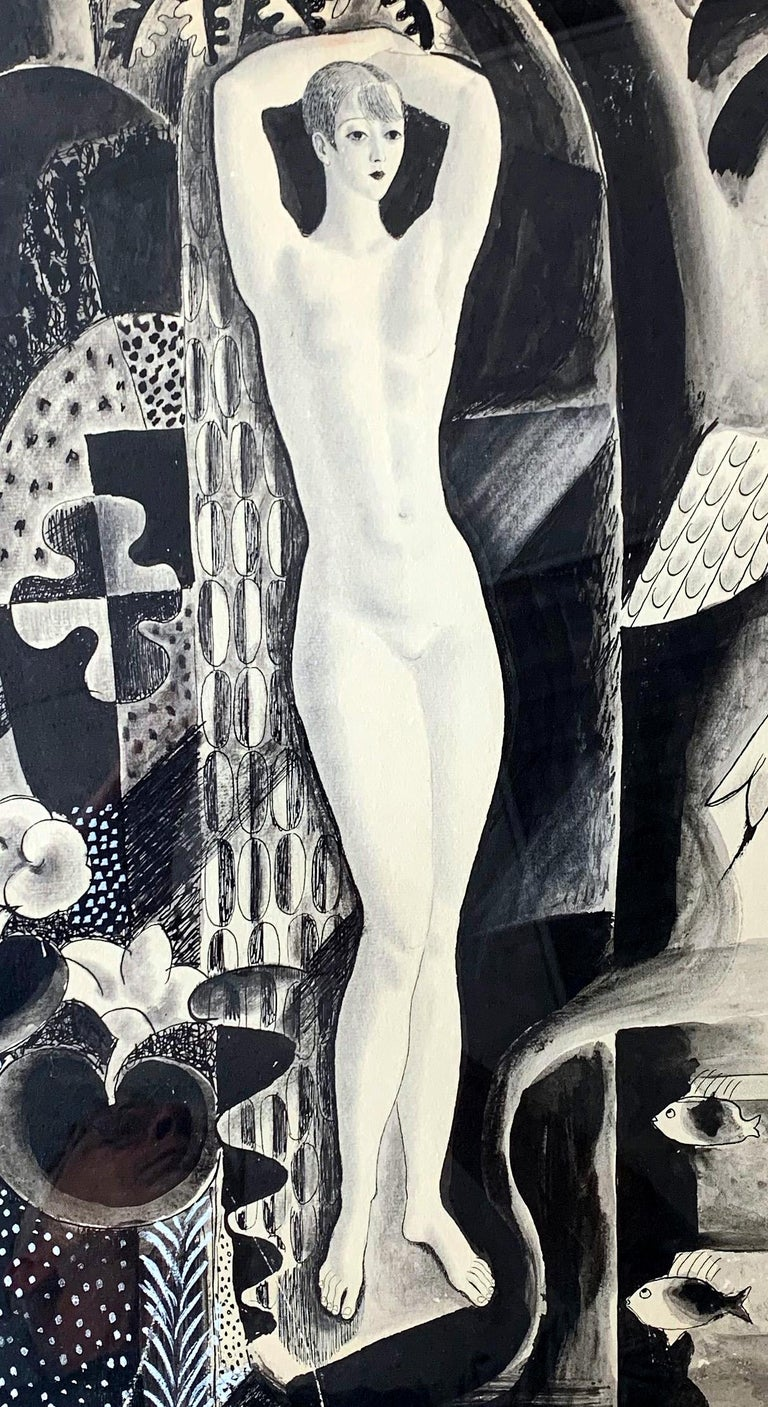 One of the finest artworks we have ever seen by famed Radio City Music Hall artist, Eduard Buk Ulreich, this ink and gouache drawing depicts a slender, statuesque female nude surrounded by a complex, Cubist network of trees, deer, fish and exotic