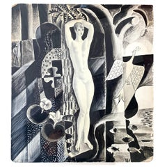 """Female Nude, Cubist Landscape,"" Art Deco Drawing, Radio City Music Hall Artist"