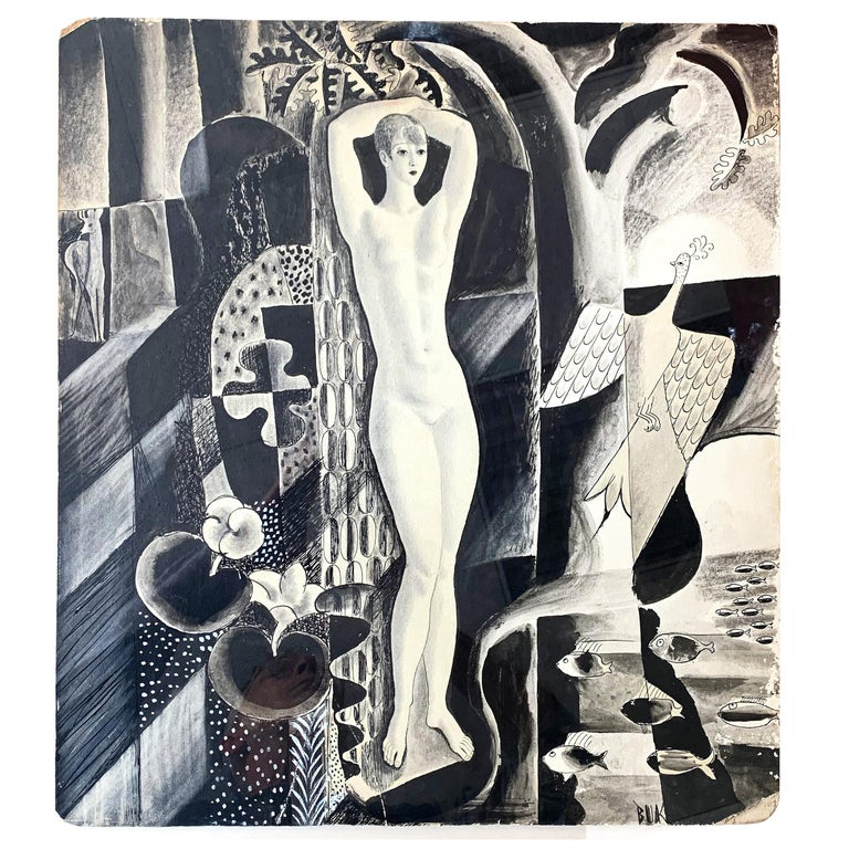 """Female Nude, Cubist Landscape,"" Art Deco Drawing, Radio City Music Hall Artist For Sale"