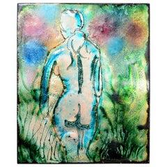 Female Nude Enamel Art 1950s in Bold Blue Green Tones Mid-Century Modern