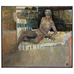 Female Nude Oil on Canvas by Lau Chun
