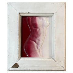 Female Nude Torso Aluminum Metal Wall Art Vintage Frame in Red & White, 1960s