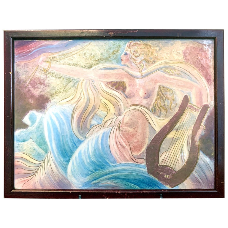 """""""Female Nude with Lyre,"""" Spectacular, Rare Art Deco Framed Tile by Greek Artist For Sale"""