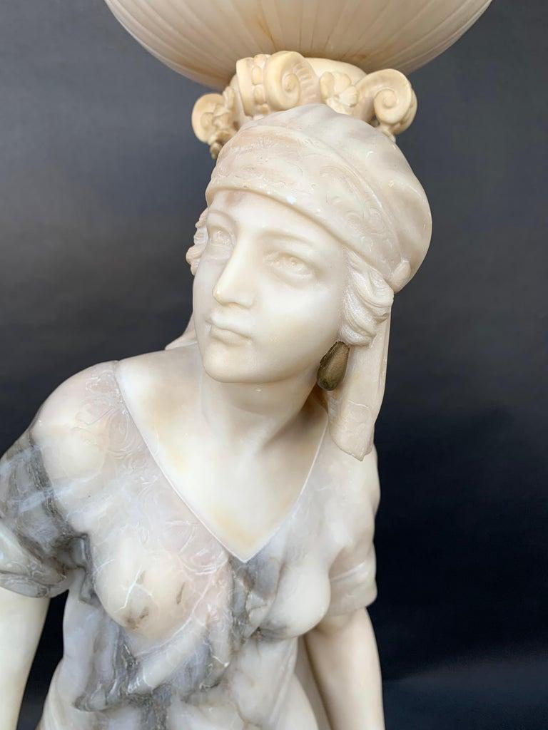 Italian Female Sculptural Torchère Lamp For Sale
