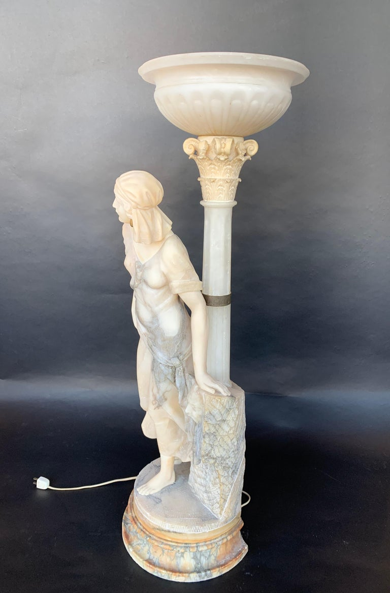 19th Century Female Sculptural Torchère Lamp For Sale