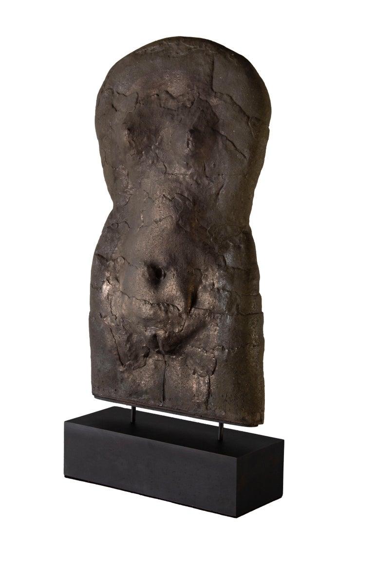 Female Torso by John Tuska on stand  Base is new and custom. Measures: 14