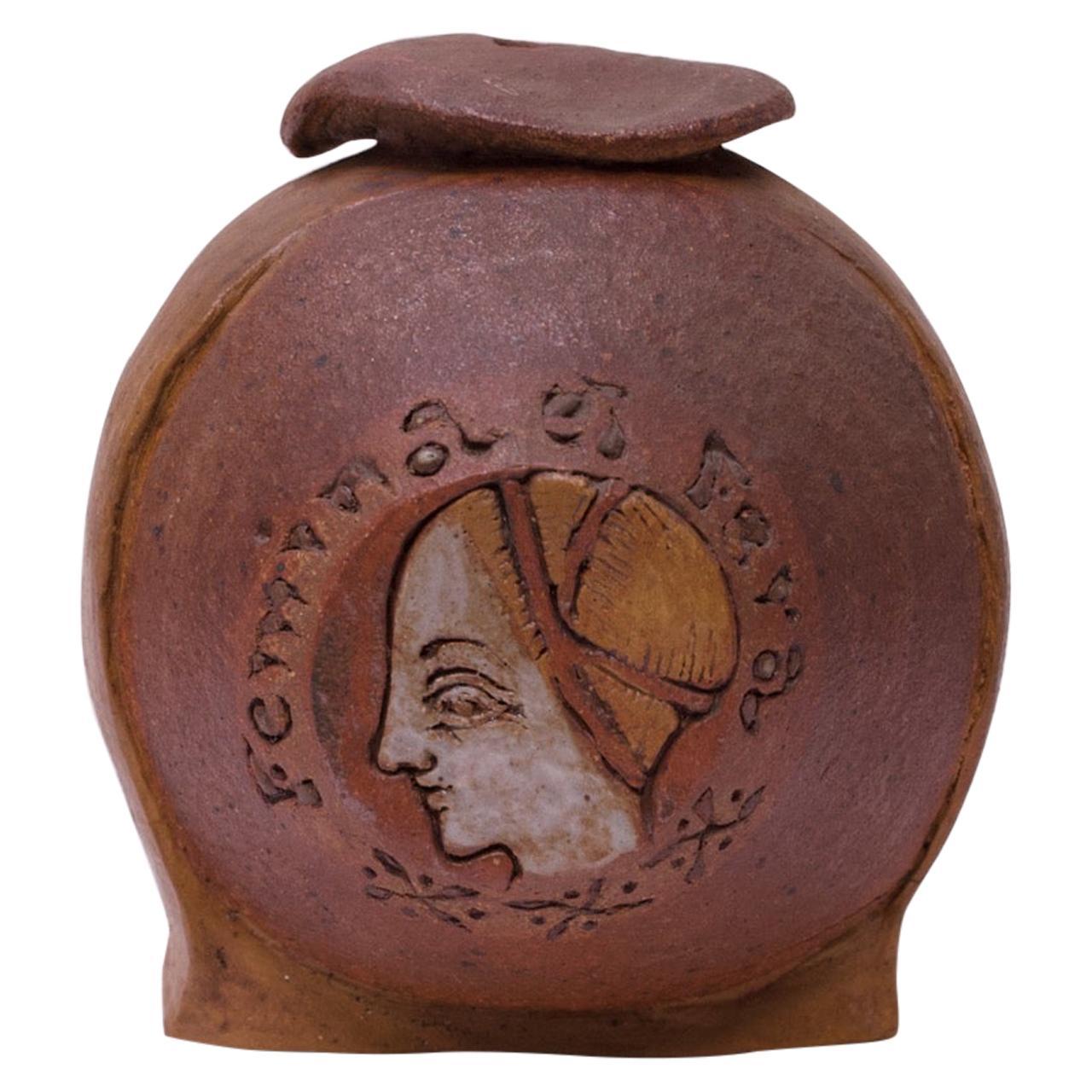 """""""Femina el Fera"""" Figural Studio Stoneware Vase / Candleholder Signed Polk"""