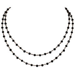 Feminine 21.84 Carat Black Diamond 18 Karat Rose Gold Chain Link Necklace
