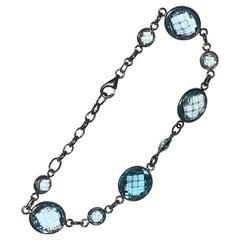 14 Carat White Gold Blue Topaz Link Bracelet