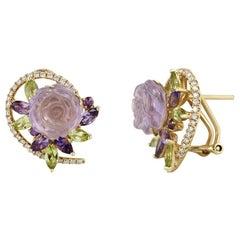 Feminine Elegant Diamond Amethyst Chrysoprase Yellow Gold Earrings