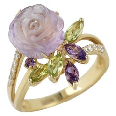 Feminine Elegant Diamond Amethyst Chrysoprase Yellow Gold Ring