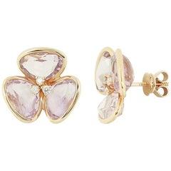 Feminine Elegant Pink Gold White Diamond Amethyst Flower Earrings