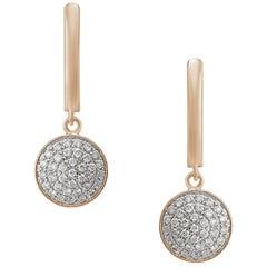 Feminine Elegant Pink Gold White Diamond Drop Earrings