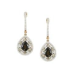 Feminine Elegant Pink Gold White Diamond Quartz Drop Earrings
