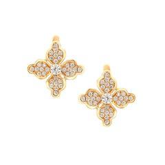 Feminine Elegant Yellow Gold White Diamond Flower Earrings