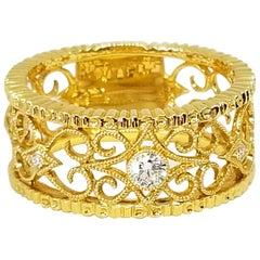Feminine Filigree Diamond Eternity Wide Anniversary Band 18 Karat Yellow Gold