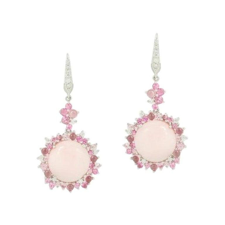 Feminine Pink Tourmaline Pink Sapphire White Diamond 18 Karat Gold Drop Earrings For Sale