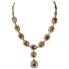 Feminine and romantic Y Necklace in Pink Gold Amethyst and Diamonds