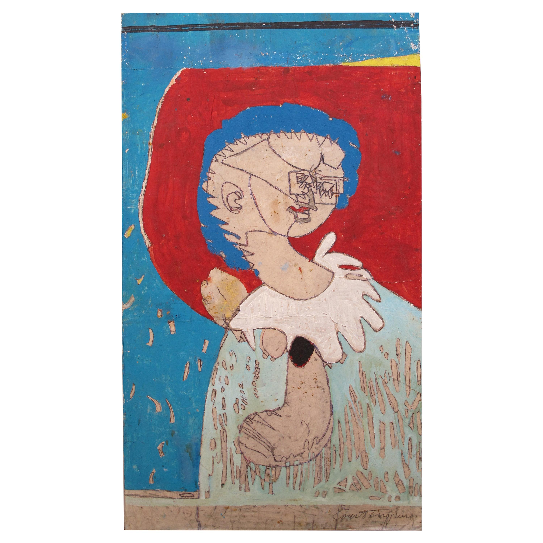 """""""Femme à la collerette blanche sur fond rouge et bleu, 1972"""" by Pierre Courtens"""