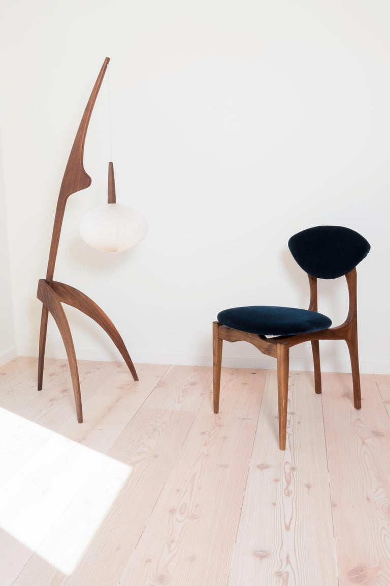International Style Femur Dining  Chair in Walnut and Velvet by ATRA For Sale