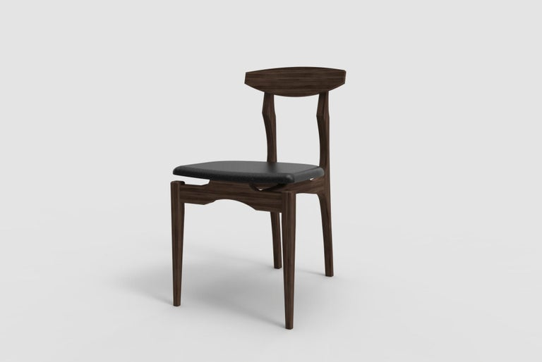Mexican Femur Dining  Chair in Walnut and Velvet by ATRA For Sale