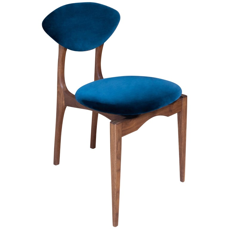 Femur Dining  Chair in Walnut and Velvet by ATRA For Sale