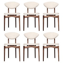 Femur Dining Chair Set '6' in Walnut and Al Apaca by Atra