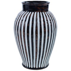 Fen Handmade Stoneware Vase with Brown and White Stripes by CuratedKravet