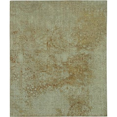 """Fenari"" Gold Beige Wool/Silk Hand-Knotted Area Rug"