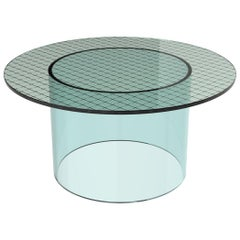 Fence Coffee Table by Pieces, Modern Interlayer Glass Surface with Acrylic Base