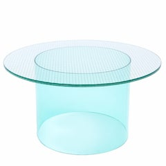 Fence Coffee Table in Glass with Metal Mesh Interlayer