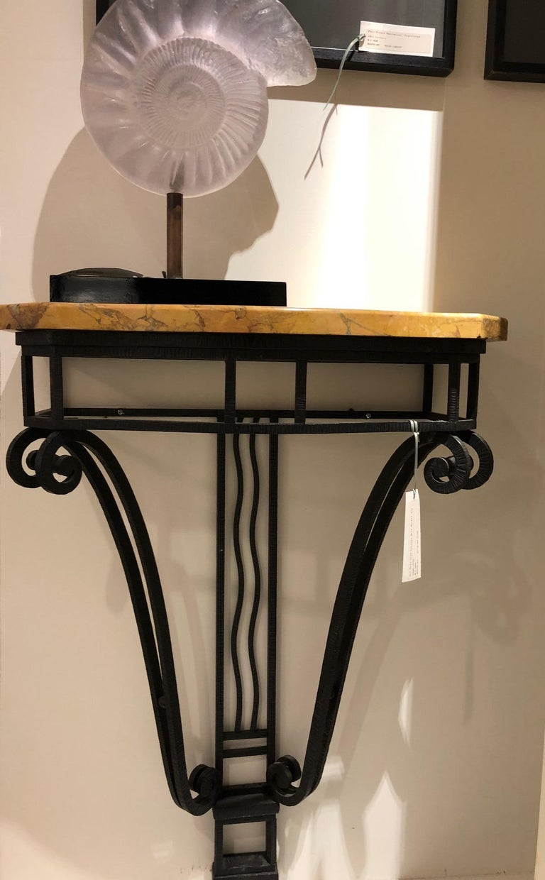 French Art Deco Iron Console with Marble Top In Good Condition For Sale In Montreal, QC