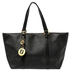 Fend Black Zucchino Coated Canvas and Leather Superstar Shopper Tote