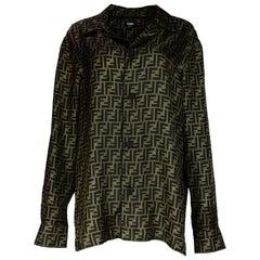 Fendi '18 Men's Unisex Brown FF Monogram Pajama-Style Silk Twill Shirt Sz 42