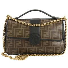 Fendi 1974 Double F Flap Bag Zucca Coated Canvas and Leather Medium